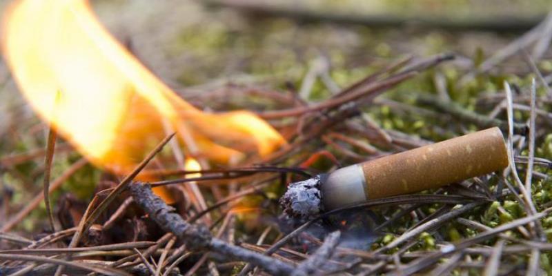 sigaretta che brucia nell'erba